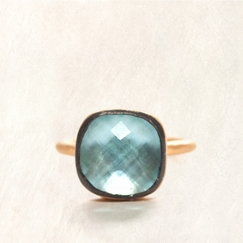 Avindy Sky Blue Topaz Cushion Ring in 8