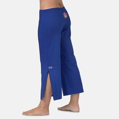 Be Present Lotus Mobility Pant (side slits) in Cobalt w/ Pink Lotus