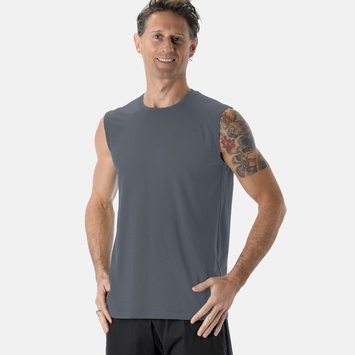 Be Present Sleeveless Tree Tee in Graphite