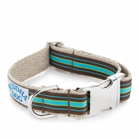 Hemp Buddha Dog Compo Stripe Collar in Blue
