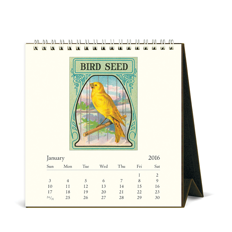 Cavallini Papers 2016 Desk Calendar Vintage Birds 6 X 6