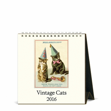Cavallini Papers 2016 Desk Calendar Vintage Cats 6 X 6
