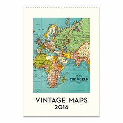 Cavallini Papers 2016 Wall Calendar - Vintage Maps (13 x 19)