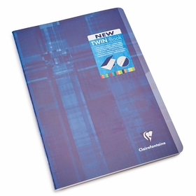Clairefontaine A4 Side Staple Bound Twin Notebook With Two Subjects (8.25 x 11.75) in Ruled W/Margin (lined pages) [63615]