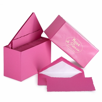 G. Lalo Mode de Paris Boxed Stationery (3.75 x 6) in Raspberry
