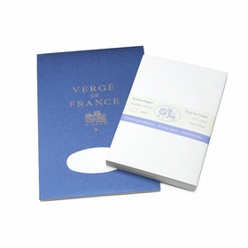 G. Lalo Verge De France Medium Tablet and Envelope Set (5.75 x 8.25) in White