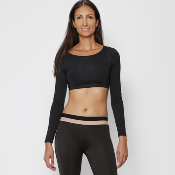 Koral Scope Long Sleeved Crop Top in Black