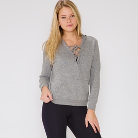 Lanston Lace Up Hoodie in Heather
