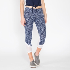 Lanston Sport Mesh Bottom Cropped Legging in Navy