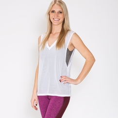 Lanston Sport Oversized V Neck Muscle Tee in White