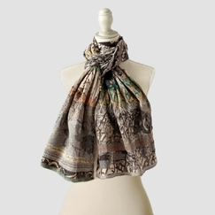 Organic Letol Printed Cotton Scarf in Coraline