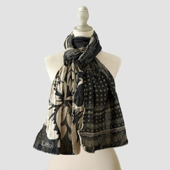 Organic Letol Printed Cotton Scarf in Soline