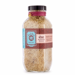 Lotus Love Beauty Bath Salts in Glass Bottle in Moksha (Sandalwood & Incense)