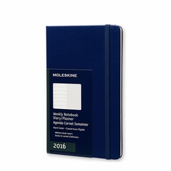 Moleskine 2016 Large Hard Cover Weekly Planner + Notes (5 x 8.25) in Royal Blue