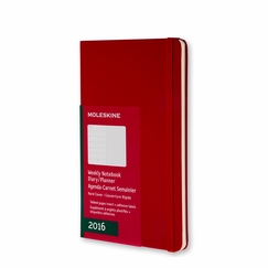 Moleskine 2016 Large Hard Cover Weekly Planner + Notes (5 x 8.25) in Scarlet Red
