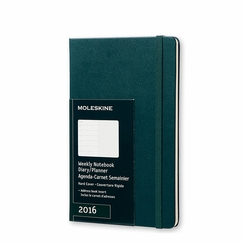Moleskine 2016 Large Hard Cover Weekly Planner + Notes (5 x 8.25) in Tide Green