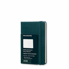 Moleskine 2016 Pocket Hard Cover Weekly Planner + Notes (3.5 x 5.5) in Tide Green