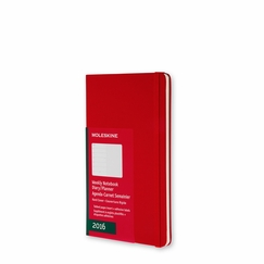 Moleskine 2016 Pocket Hard Cover Weekly Planner + Notes (3.5 x 5.5) in Scarlet Red