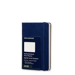 Moleskine 2016 Pocket Hard Cover Weekly Planner + Notes (3.5 x 5.5) in Royal Blue