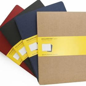 Moleskine Cahier Extra Large Squared Notebook (set of 3) (7.5 x 10)