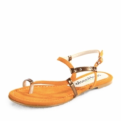Olsen Haus Birds Flat Sandal in Orange/Silver
