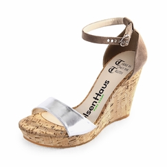 Olsen Haus Healing Cork Wedge Sandal in Taupe Suede/Silver Faux Leather