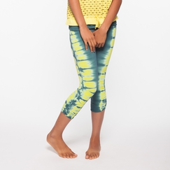 Organic Om Girl Ahimsa Capri Free Spirit Stripe in Martini Olive/Lemon Drop