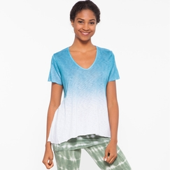 Om Girl Dynamic Tee Half Full in Blue Hawaiian