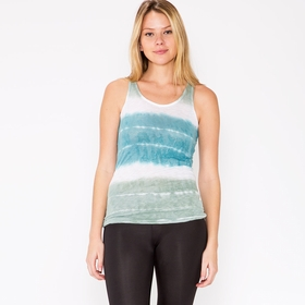 Om Girl Watercolor Stripe Mindful Tank in Martini Olive
