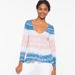 Om Girl Motion Tee Bold Stripes in Blue Moon Cosmo