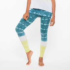 Organic Om Girl Nomad Legging Bold Stripes in Blue Hawaiian
