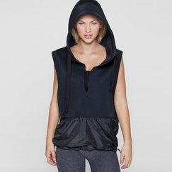 Phat Buddha Hooded Vest in Black