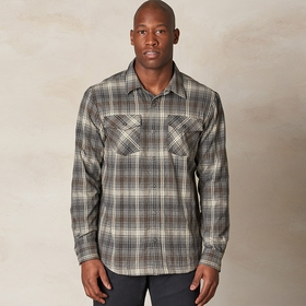Organic Prana Asylum Flannel Shirt in Gravel