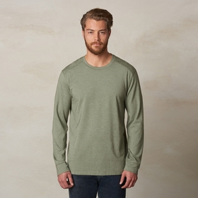 Organic Prana Decco Long Sleeve Crew in Cargo Green