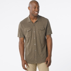 Organic Prana Hayes Button Down Polo in Mud