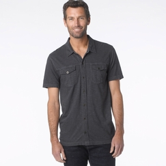 Organic Prana Hayes Button Down Polo in Coal