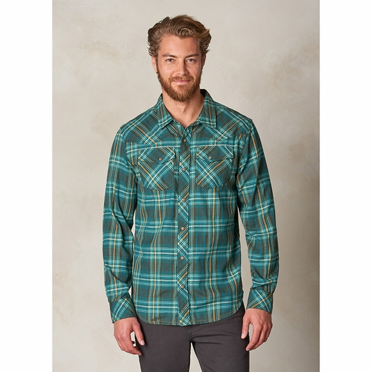 Prana Holstad Plaid Long Sleeve Shirt ( Cargo Green )