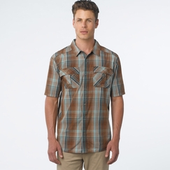 Organic Prana Short Sleeve Midas Shirt in Brown