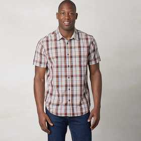 Organic Prana Tamrack Short Sleeve Plaid Shirt in Henna