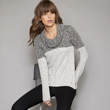 Red Haute Color-Block Cowl Sweater in Black/Natural