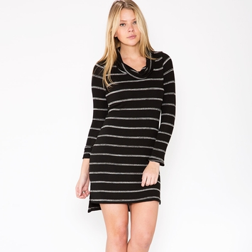 Red Haute Cowl Sweater Dress in Black