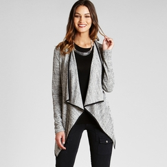 Red Haute Drape Cardigan in Gray