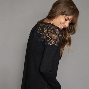 Red Haute Lace Top Shirt in Black