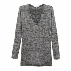 Red Haute Shirttail V-Neck in Heather Gray