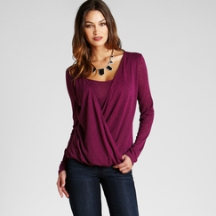 Red Haute Surplice Top in Berry