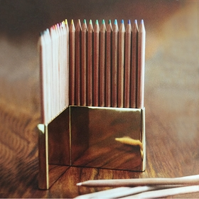 Roost Colored Pencils & Brass Holder Set