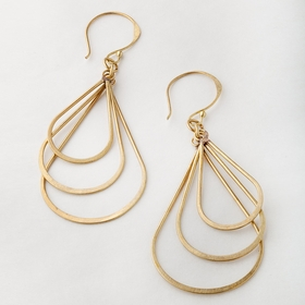 Roost Hammered Brass Oval Earrings