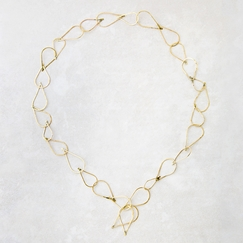 Roost Hammered Brass Teardrop Link Necklace