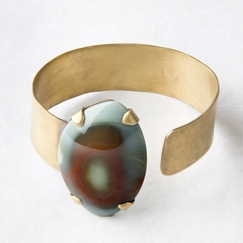 Roost Ocean Jasper Polished Brass Cuff