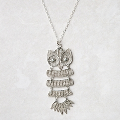 Roost Oxidized Silver Filigree Owl Necklace